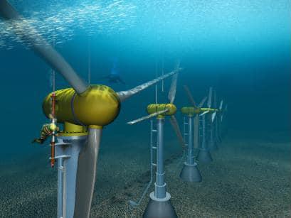 Large underwater turbines are Underwater Turbine Electricity Production