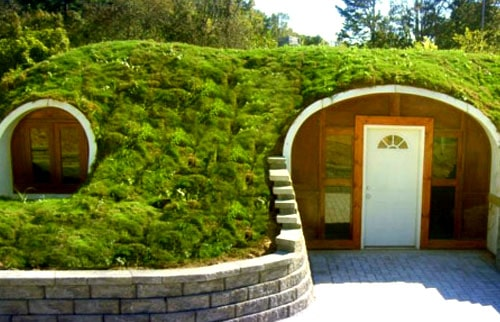 Green Roofed Hobbit Home